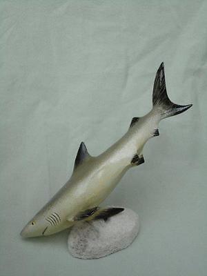 Shark Figure Large Light Grey Plastic Handpainted Varnish Finish Mounted