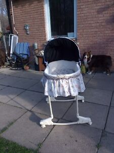 Beautiful bassinet with stand and long black skirt London Ontario image 1