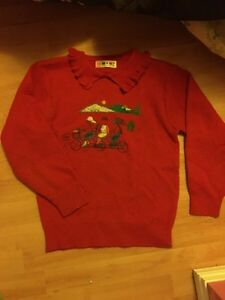 Red Pure wool sweaters (kid size 10-14/lady size Small)