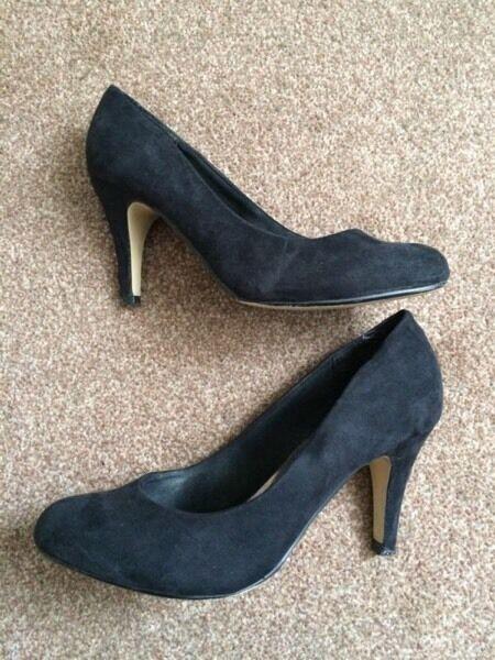 Next Black Suede Court Shoes Size 4 UK