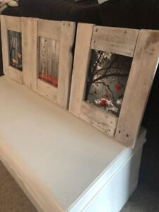 3 rustic framed pictures for sale