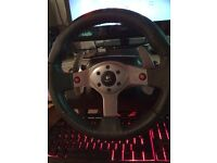 Logitech g25 steering wheel and pedals with 6 speed gearbox