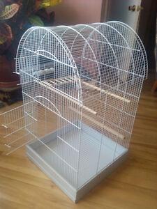 """Round-top white bird cage, 34x19x19"""", budgie, cockatiel, parrot"""