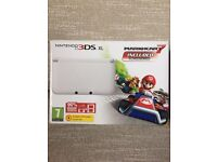 Nintendo 3DS XL white, with pre-installed MARIOKART7. Limited edition. Brand NEW!