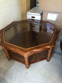 Large glass coffee table - vintage
