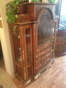 Antique french empire etagere secretary display cabinet