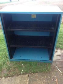 Steel storage shelving cabinet.