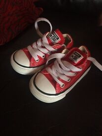 Red infant converse for sale size 4