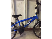 """Boys blue bmx bike 20"""" wheels with stunt pegs suit age 8-11 years"""
