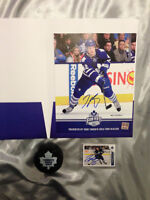Tyler Bozak Autographed 8x10 Photo, Puck, and Trading Card