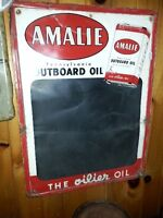 1956 AMALIE Outboard Motor Oil Chalkboard Tin Sign