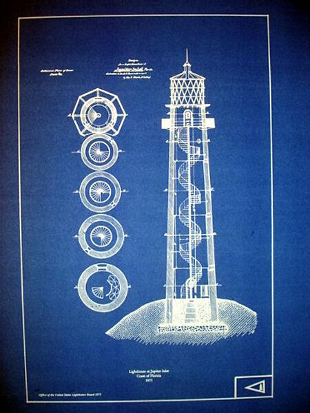 "US Lighthouse Coast of Florida Jupiter Inlet Blueprint Plans 14"" x 20"" (246)"