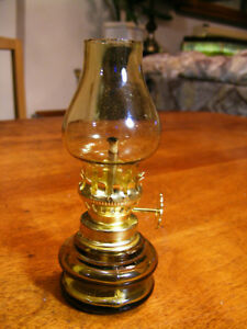 Minature Brown Glass Oil Lamp