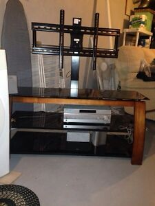 Media console with wood accent