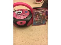 Monster high CD player and dvd