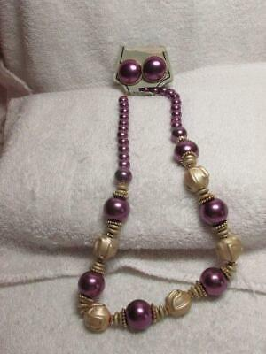 Purple And Gold Molded Plastic Bead Necklace Earring Set New Old (Molded Plastic Bead)