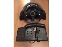 MicroCon racing wheel and pedals