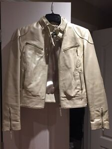 Motorcycle style leather women's jacket manteau cuir femme