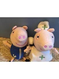 Peppa Pig beanie baby toys x2