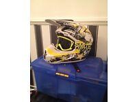 Motocross helmet and motocross boots