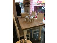 Farmhouse solid oak dining table and 4 chairs