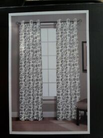 Pair of Cream Brown Pastel Eyelet Curtains, 84 Inches Drop, 37 Inches Wide, New