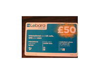 Lebara mobile credit top up worth £50