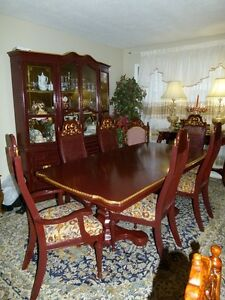 BURGUNDY FRENCH PROVINCIAL TABLE, 6 CHAIRS, CABINET AND HUTCH