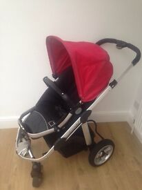 iCandy Apple stroller with carrycot and rain-covers (redcurrant pack)