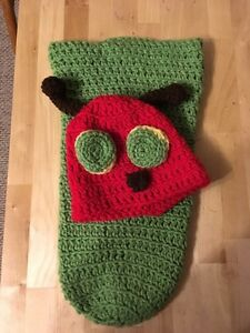 Crochet Halloween baby costume very hungry caterpillar.