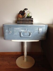 Vintage suitcase end table/nightstand