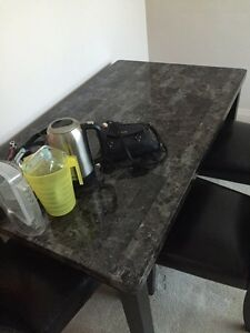 Marble style laminate kitchen table and 3 chairs