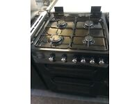 Black service 60cm gas cooker grill & double oven good condition with guarantee