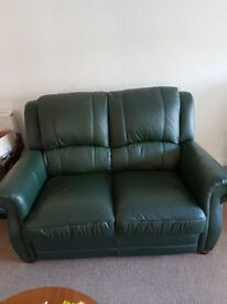 3 Piece Green Leather suite - Excellent condition - Rise and Recliner was £2000 just over a year ago