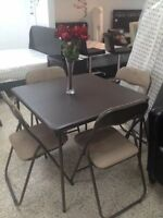 SMALL TABLE BROWN LEATHERLOOK  TOP WITH 4 CHAIRS FOR ONLY 99$