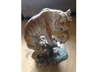 Tiger and Cub Pottery Ornament