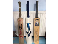 3 quality English cricket bats,one just needs a new handle grip,take a lot for only £65