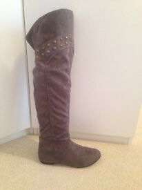 Over the knee suedette boots
