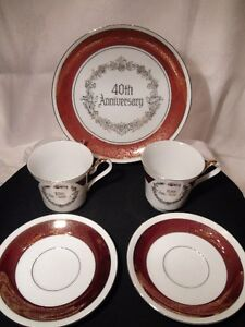 Cup and Sauser Pair With Plate Ruby 40th Anniversary