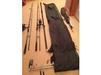 Carp fishing rods and tackle bundle £80 the lot