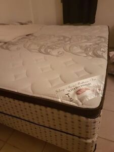 queen mattress, boxspring and rails for sale