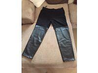 Women's DKNY Designer Black Faux Leather Leggings - Size L
