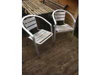Pair of strong aluminium bistro chairs / patio chairs £20
