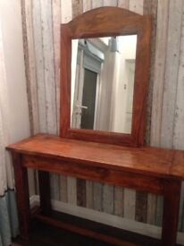 ACACIA Solid INDIAN WOOD Hall Tabble console and Matching Mirror Quality