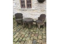 A large selection of wood carved chairs,table,bench,, £65 the lot!