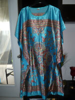 NEW ONE SIZE ORIENTAL STYLE TURQUOISE SATIN DRESS