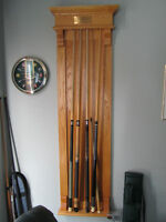 pool table, cue rack and billiard balls great condition