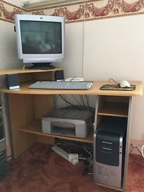 Computer with printer and speakers