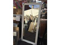 """huge white wooden swept framed mirror 66""""x30"""""""