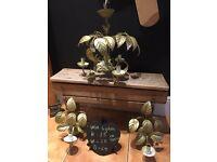 Vintage gold tole ware ceiling wall lights chandelier metal kitsch 80's leaf